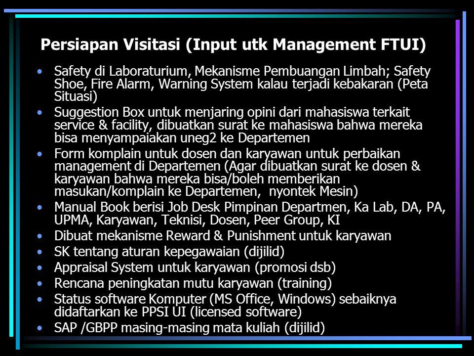 Persiapan Visitasi (Input utk Management FTUI) Safety di Laboraturium, Mekanisme Pembuangan Limbah; Safety Shoe, Fire Alarm, Warning System kalau terj