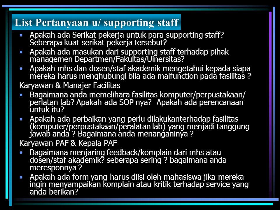 Apakah ada Serikat pekerja untuk para supporting staff? Seberapa kuat serikat pekerja tersebut? Apakah ada masukan dari supporting staff terhadap piha