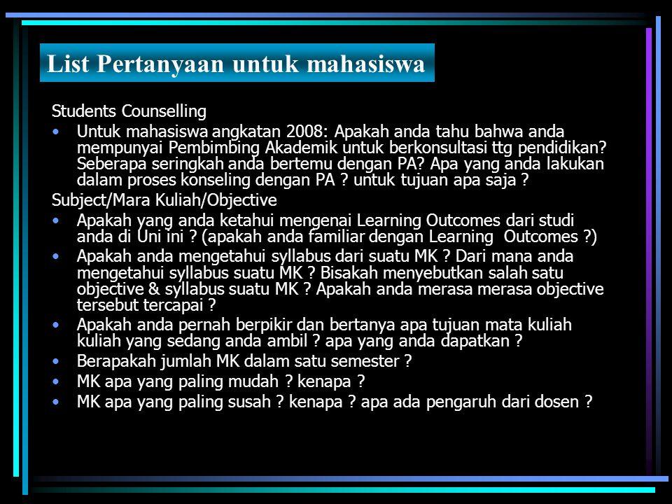 Students Counselling Untuk mahasiswa angkatan 2008: Apakah anda tahu bahwa anda mempunyai Pembimbing Akademik untuk berkonsultasi ttg pendidikan? Sebe