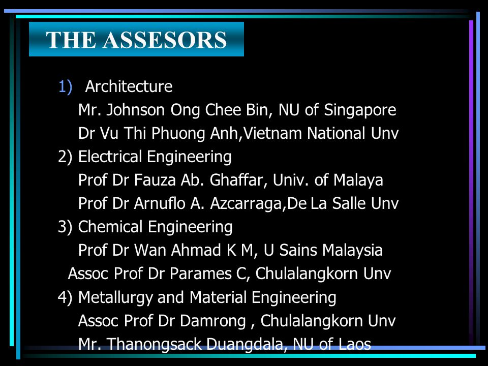 THE ASSESORS 1)Architecture Mr. Johnson Ong Chee Bin, NU of Singapore Dr Vu Thi Phuong Anh,Vietnam National Unv 2) Electrical Engineering Prof Dr Fauz