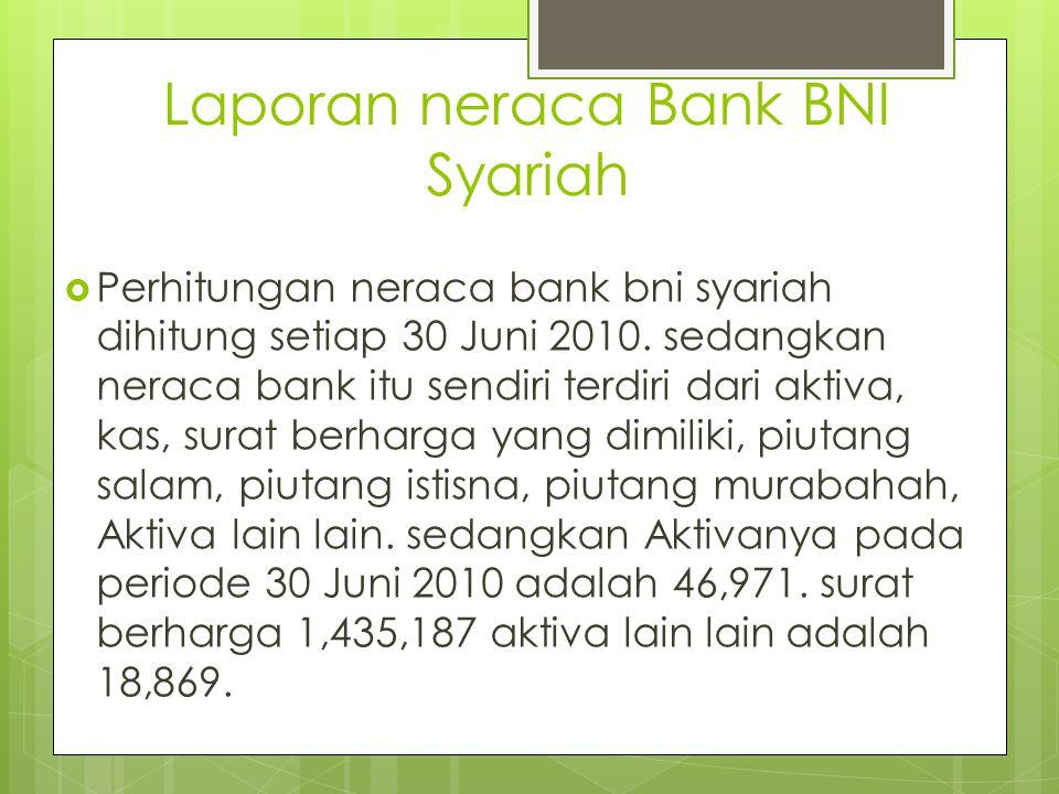 Laporan neraca Bank BNI Syariah  Perhitungan neraca bank bni syariah dihitung setiap 30 Juni 2010. sedangkan neraca bank itu sendiri terdiri dari akt