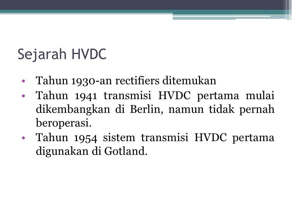 Sejarah HVDC Tahun 1930-an rectifiers ditemukan Tahun 1941 transmisi HVDC pertama mulai dikembangkan di Berlin, namun tidak pernah beroperasi. Tahun 1