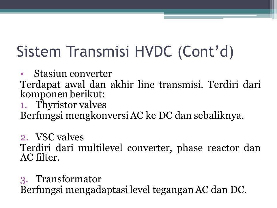 Sistem Transmisi HVDC (Cont'd) Stasiun converter Terdapat awal dan akhir line transmisi. Terdiri dari komponen berikut: 1.Thyristor valves Berfungsi m