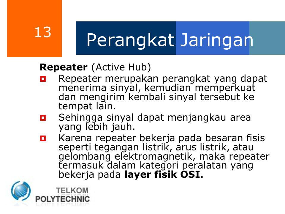 13 Perangkat Jaringan Repeater (Active Hub)  Repeater merupakan perangkat yang dapat menerima sinyal, kemudian memperkuat dan mengirim kembali sinyal