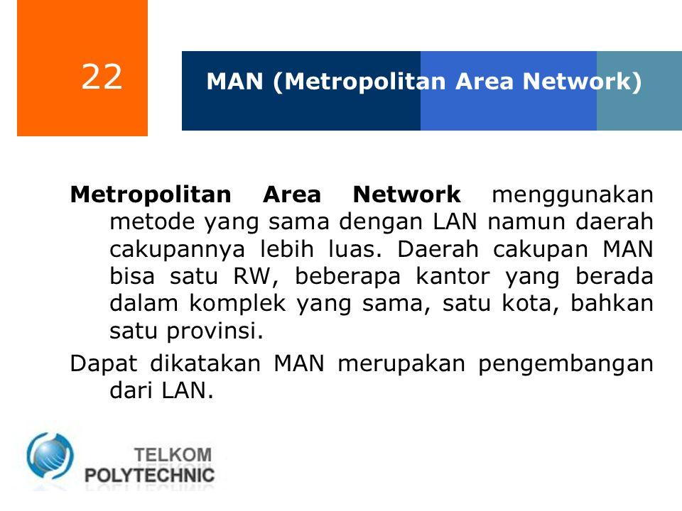 22 MAN (Metropolitan Area Network) Metropolitan Area Network menggunakan metode yang sama dengan LAN namun daerah cakupannya lebih luas. Daerah cakupa
