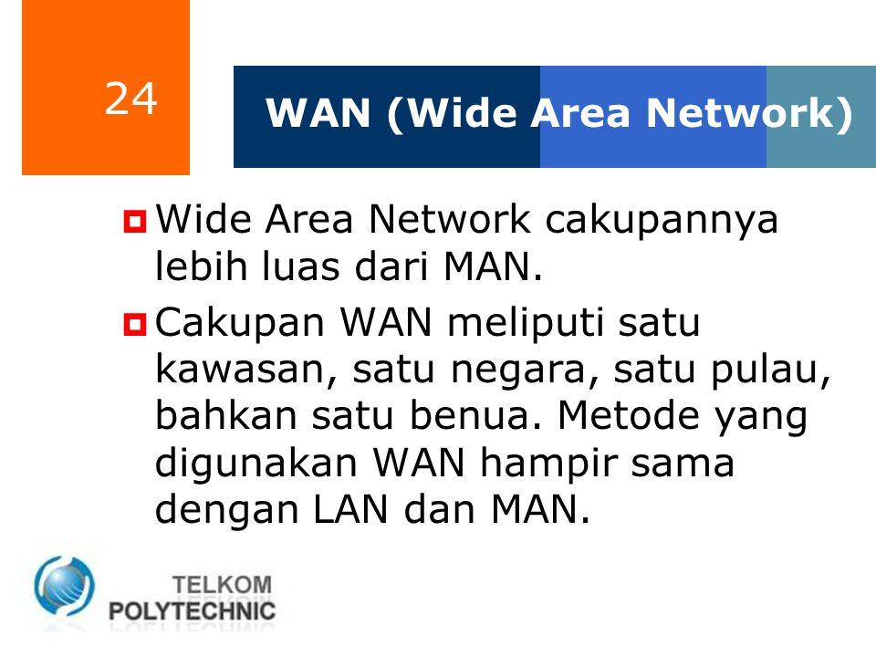 24 WAN (Wide Area Network)  Wide Area Network cakupannya lebih luas dari MAN.  Cakupan WAN meliputi satu kawasan, satu negara, satu pulau, bahkan sa
