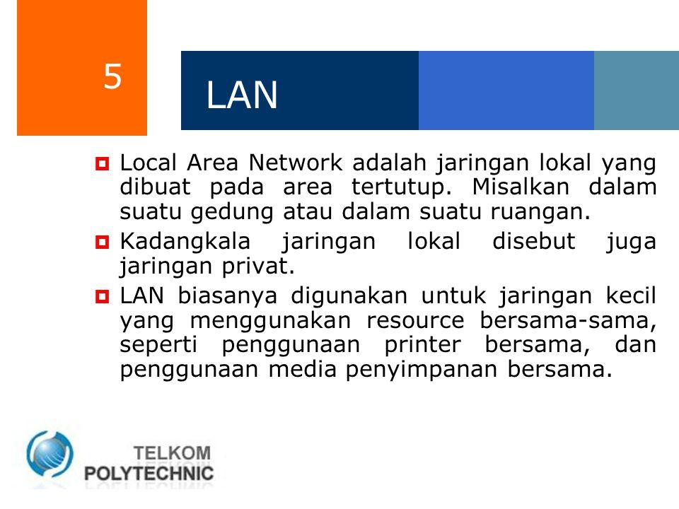 5 LAN  Local Area Network adalah jaringan lokal yang dibuat pada area tertutup. Misalkan dalam suatu gedung atau dalam suatu ruangan.  Kadangkala ja