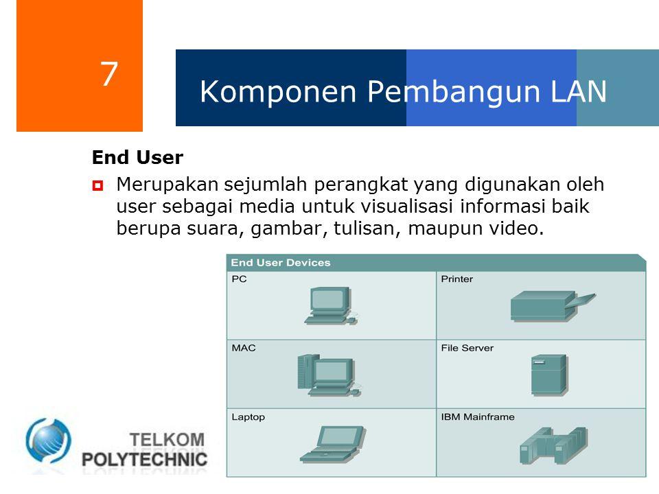 7 Komponen Pembangun LAN End User  Merupakan sejumlah perangkat yang digunakan oleh user sebagai media untuk visualisasi informasi baik berupa suara,