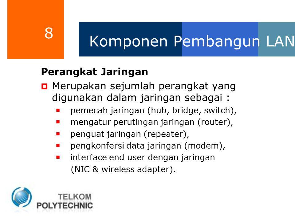 8 Komponen Pembangun LAN Perangkat Jaringan  Merupakan sejumlah perangkat yang digunakan dalam jaringan sebagai :  pemecah jaringan (hub, bridge, sw