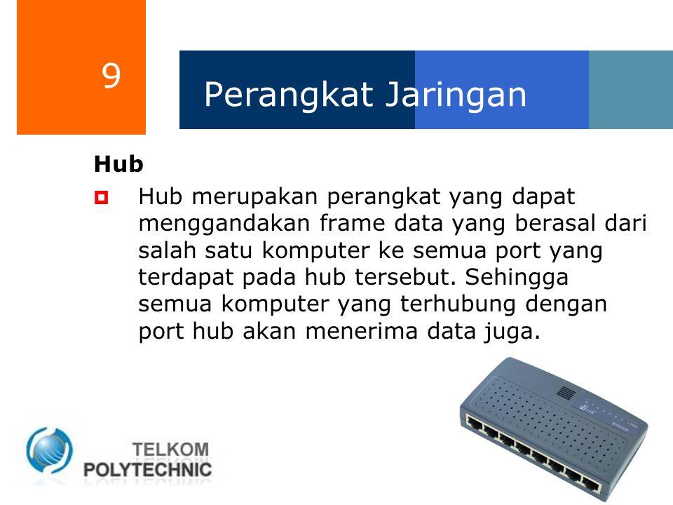 9 Perangkat Jaringan Hub  Hub merupakan perangkat yang dapat menggandakan frame data yang berasal dari salah satu komputer ke semua port yang terdapa