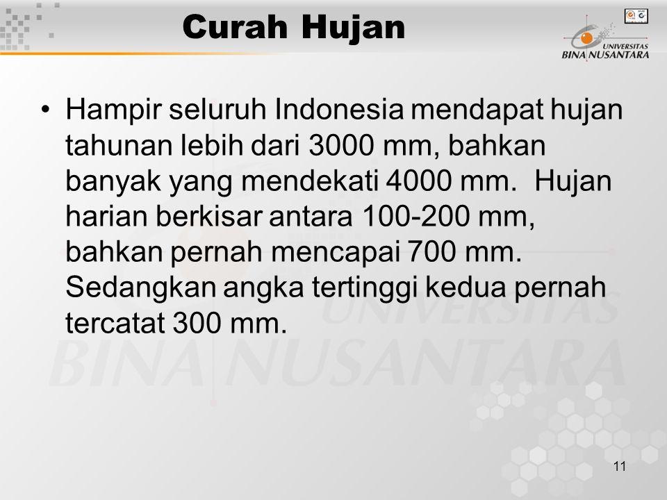 11 Curah Hujan Hampir seluruh Indonesia mendapat hujan tahunan lebih dari 3000 mm, bahkan banyak yang mendekati 4000 mm.
