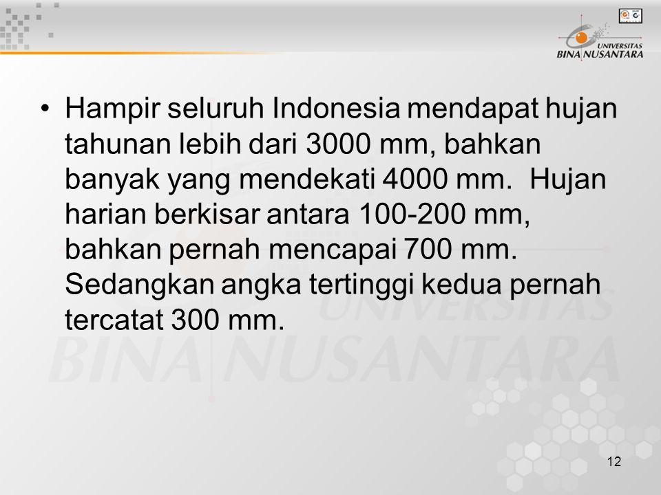 12 Hampir seluruh Indonesia mendapat hujan tahunan lebih dari 3000 mm, bahkan banyak yang mendekati 4000 mm.