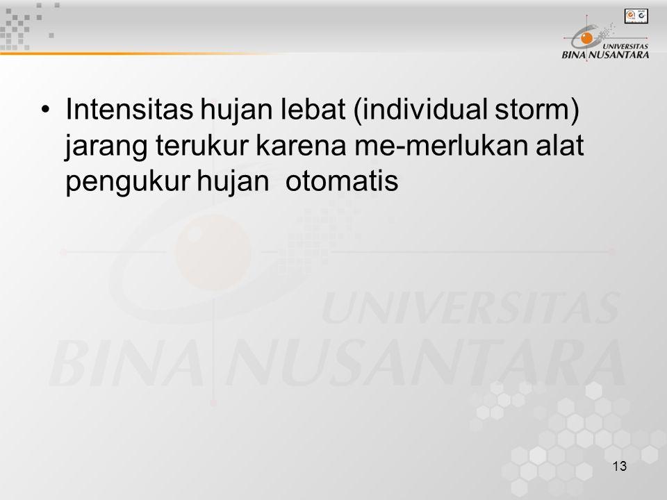 13 Intensitas hujan lebat (individual storm) jarang terukur karena me-merlukan alat pengukur hujan otomatis