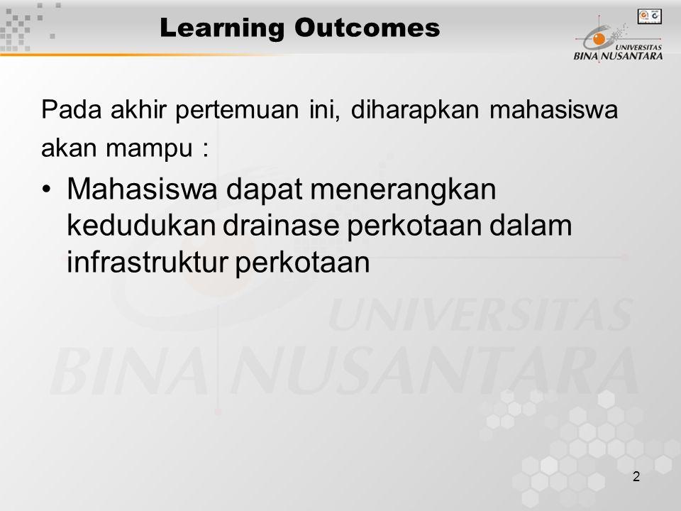 2 Learning Outcomes Pada akhir pertemuan ini, diharapkan mahasiswa akan mampu : Mahasiswa dapat menerangkan kedudukan drainase perkotaan dalam infrastruktur perkotaan
