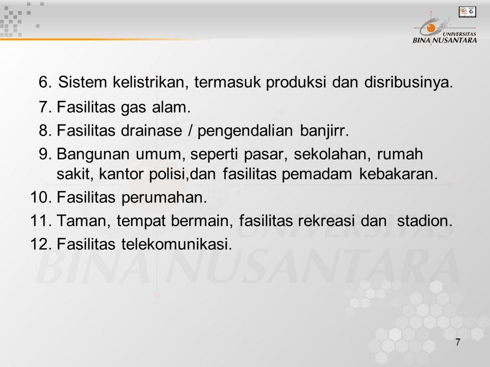 7 6. Sistem kelistrikan, termasuk produksi dan disribusinya.