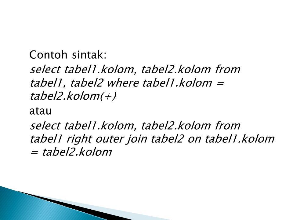 Contoh sintak: select tabel1.kolom, tabel2.kolom from tabel1, tabel2 where tabel1.kolom = tabel2.kolom(+) atau select tabel1.kolom, tabel2.kolom from