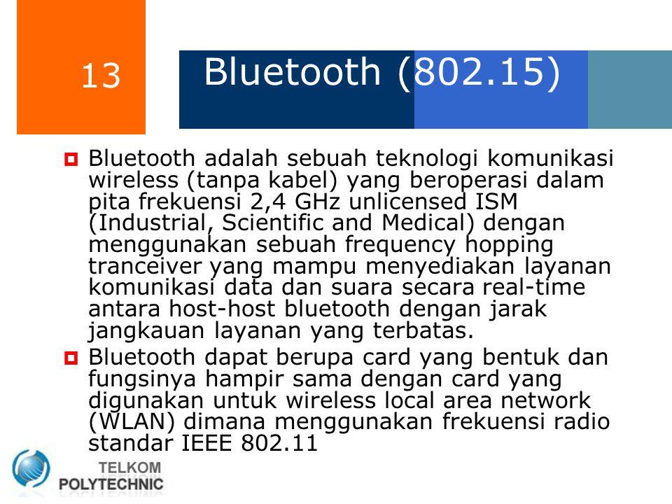 13 Bluetooth (802.15)  Bluetooth adalah sebuah teknologi komunikasi wireless (tanpa kabel) yang beroperasi dalam pita frekuensi 2,4 GHz unlicensed IS