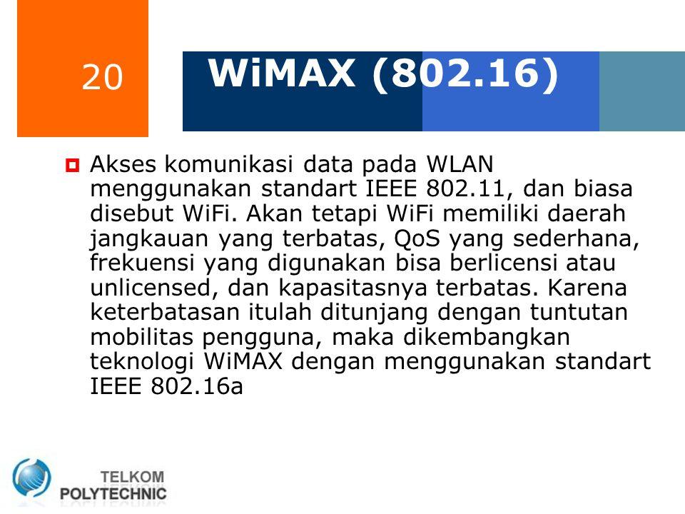 20 WiMAX (802.16)  Akses komunikasi data pada WLAN menggunakan standart IEEE 802.11, dan biasa disebut WiFi. Akan tetapi WiFi memiliki daerah jangkau