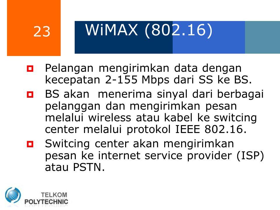 23 WiMAX (802.16)  Pelangan mengirimkan data dengan kecepatan 2-155 Mbps dari SS ke BS.  BS akan menerima sinyal dari berbagai pelanggan dan mengiri