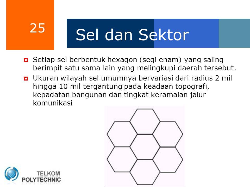 25 Sel dan Sektor  Setiap sel berbentuk hexagon (segi enam) yang saling berimpit satu sama lain yang melingkupi daerah tersebut.  Ukuran wilayah sel