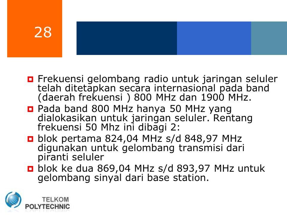 28  Frekuensi gelombang radio untuk jaringan seluler telah ditetapkan secara internasional pada band (daerah frekuensi ) 800 MHz dan 1900 MHz.  Pada