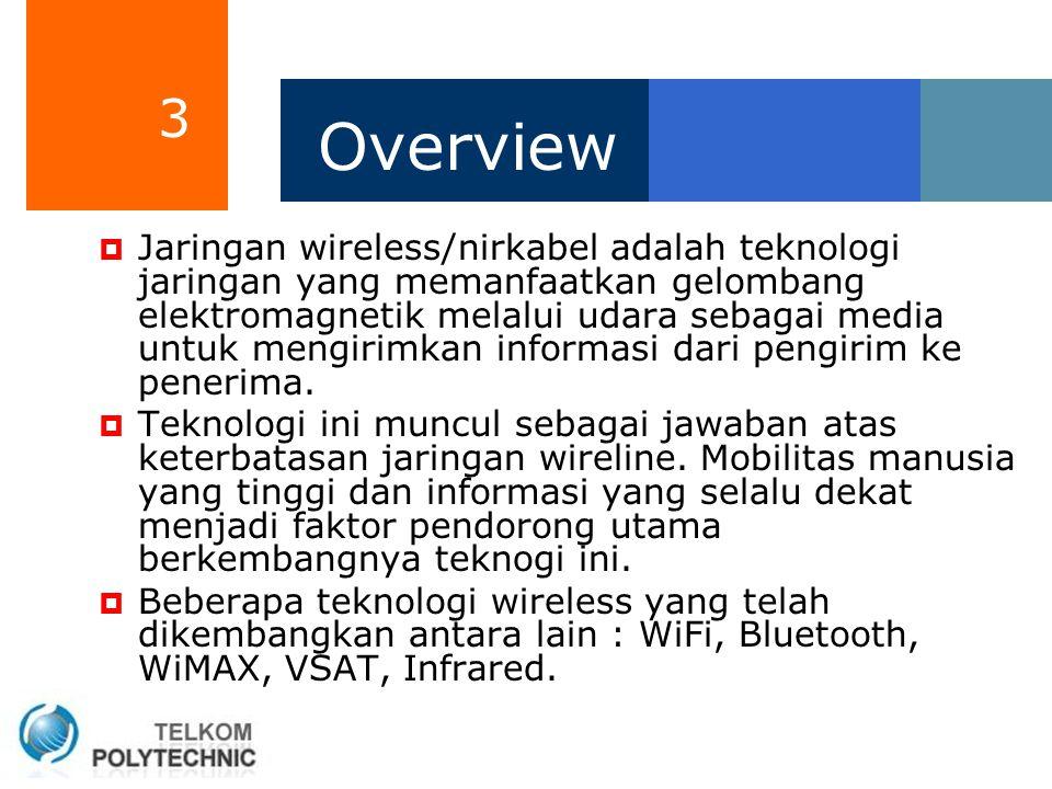 3 Overview  Jaringan wireless/nirkabel adalah teknologi jaringan yang memanfaatkan gelombang elektromagnetik melalui udara sebagai media untuk mengir