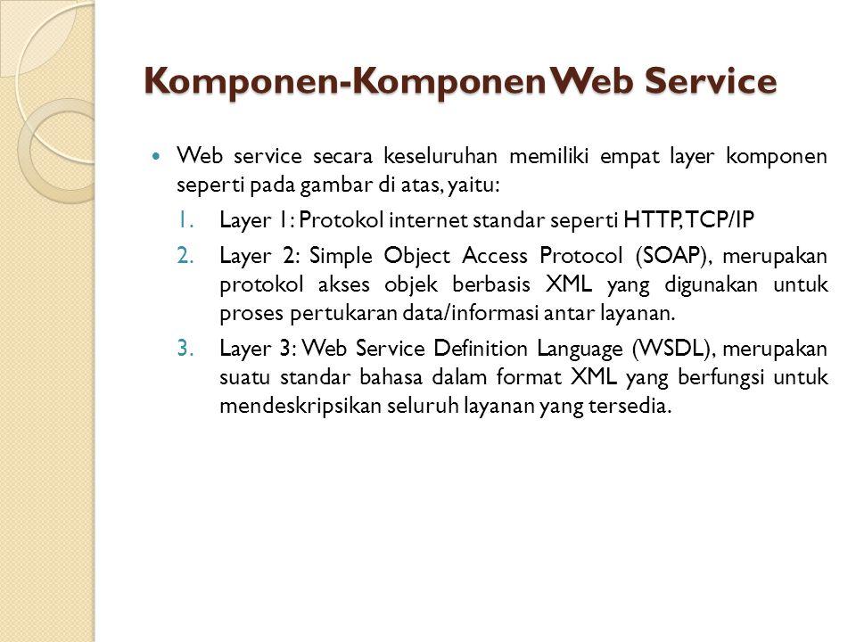 Web service secara keseluruhan memiliki empat layer komponen seperti pada gambar di atas, yaitu: 1.Layer 1: Protokol internet standar seperti HTTP, TCP/IP 2.Layer 2: Simple Object Access Protocol (SOAP), merupakan protokol akses objek berbasis XML yang digunakan untuk proses pertukaran data/informasi antar layanan.