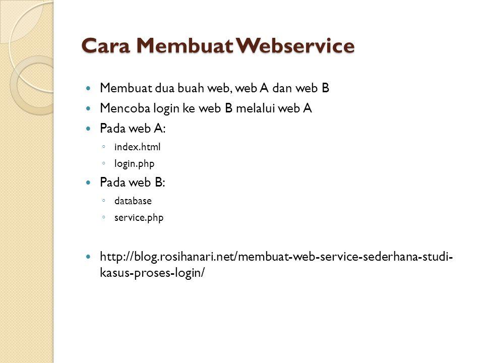 Cara Membuat Webservice Membuat dua buah web, web A dan web B Mencoba login ke web B melalui web A Pada web A: ◦ index.html ◦ login.php Pada web B: ◦ database ◦ service.php http://blog.rosihanari.net/membuat-web-service-sederhana-studi- kasus-proses-login/