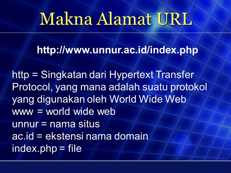 Web Site / Situs - Untuk mencari informasi di internet perlu diketahui alamat website - Alamat website = URL - URL = universal resource locator -Web S
