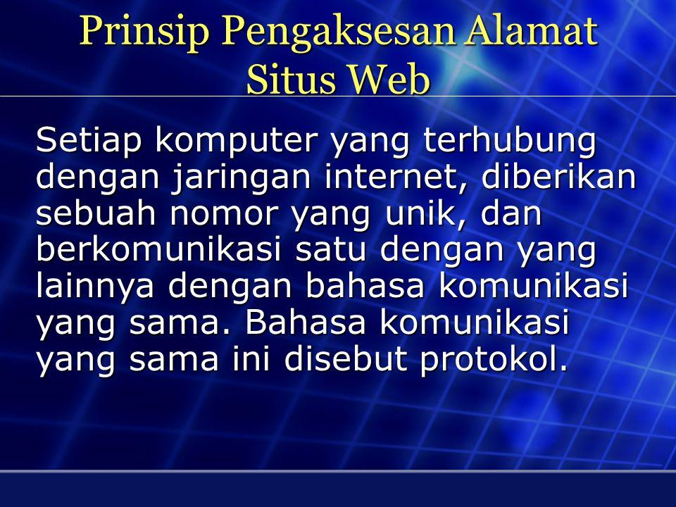 Makna Alamat URL http://www.unnur.ac.id/index.php http = Singkatan dari Hypertext Transfer Protocol, yang mana adalah suatu protokol yang digunakan oleh World Wide Web www = world wide web unnur = nama situs ac.id = ekstensi nama domain index.php = file