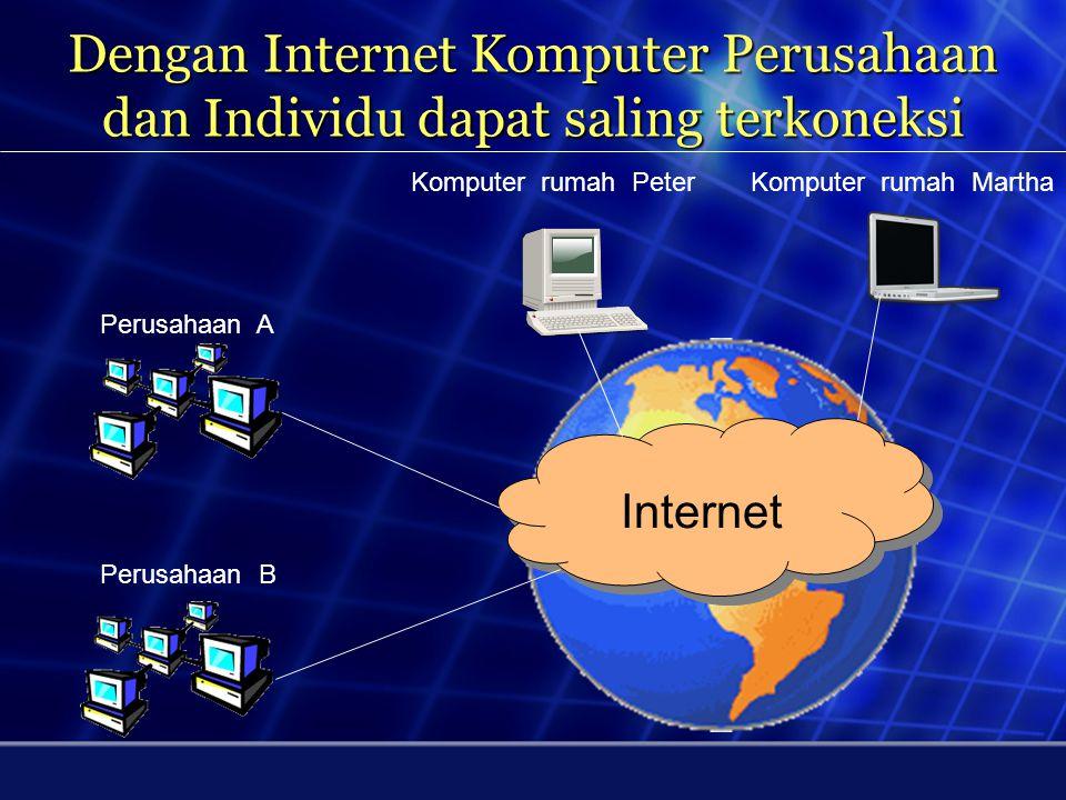 Pengertian Internet Internet adalah jaringan komputer yang saling terhubung ke seluruh dunia dimana di dalamnya terdapat berbagai sumber daya informas