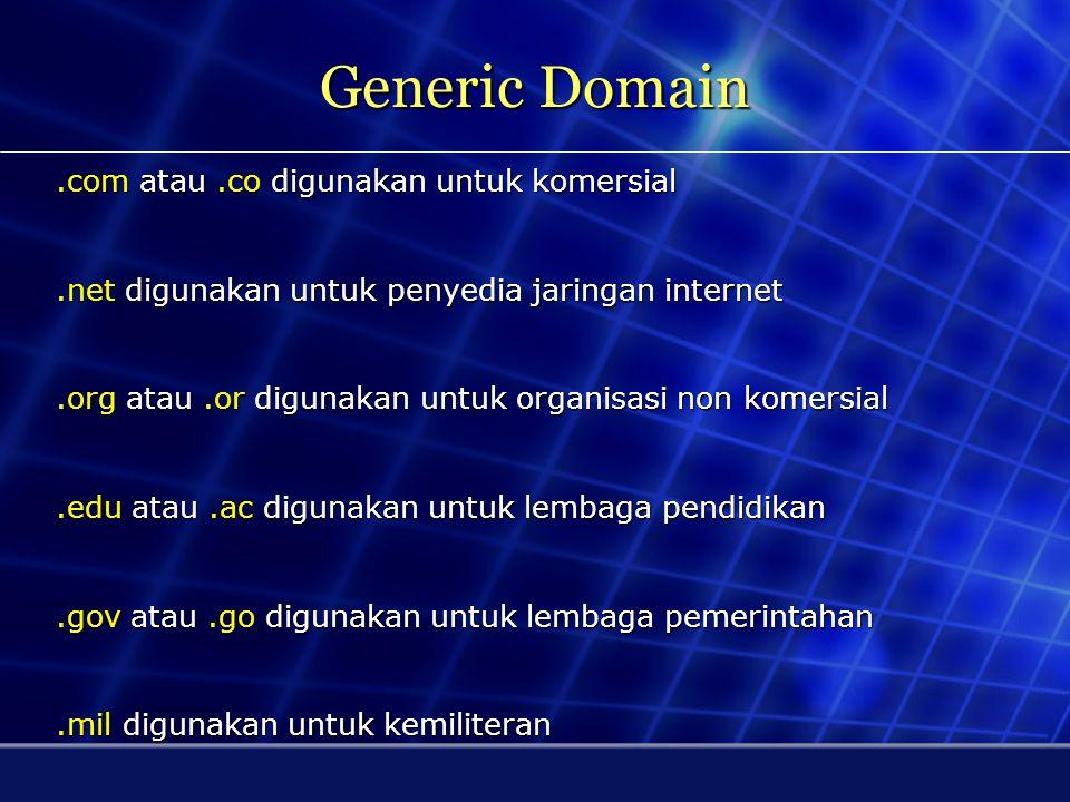 Domain Name Domain Name adalah penamaan halaman web di internet. Orang biasa mengenal domain name sebagai bagian dari website atau bagian dari e-mail