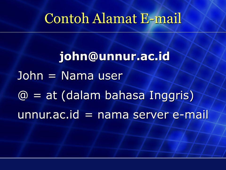 E-mail E-mail berasal dari kata electronic mail. E-mail adalah salah satu cara untuk mengirimkan pesan dalam format data elektronik, dari satu kompute
