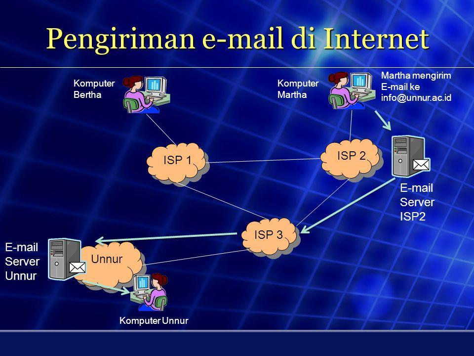 Contoh Alamat E-mail john@unnur.ac.id John = Nama user @ = at (dalam bahasa Inggris) unnur.ac.id = nama server e-mail