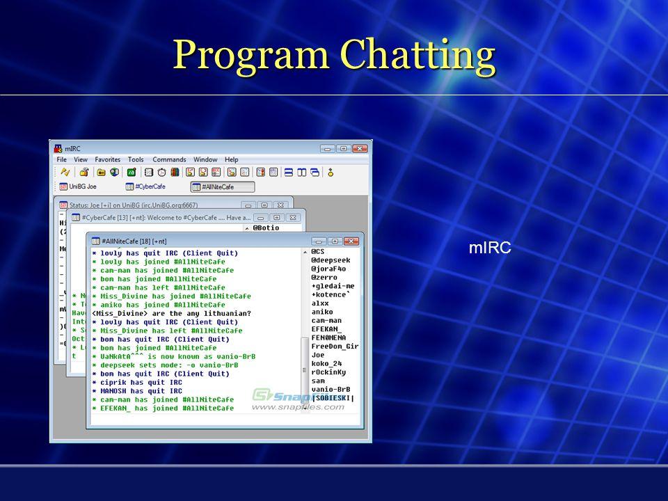 Chatting (Berdiskusi Real Time) Internet Relay Chat (IRC) adalah suatu bentuk komunikasi di Internet yang diciptakan untuk komunikasi kelompok di tempat diskusi yang dinamakan channel (saluran), tetapi juga bisa untuk komunikasi jalur pribadi.