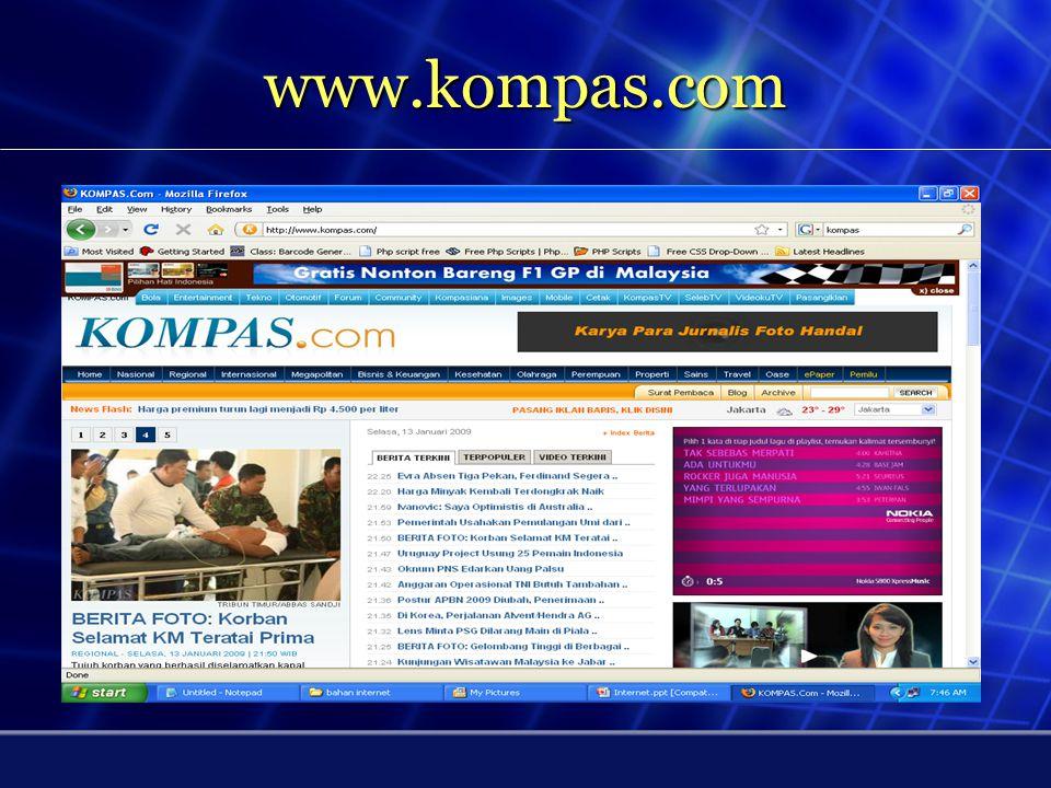 Web Site / Situs - Untuk mencari informasi di internet perlu diketahui alamat website - Alamat website = URL - URL = universal resource locator -Web Site = Tempat sekumpulan halaman web milik seseorang atau suatu perusahaan yang dikumpulkan dan dikemas - Homepage = Istilah untuk menyebutkan halaman pertama yang akan muncul jika sebuah situs web diakses