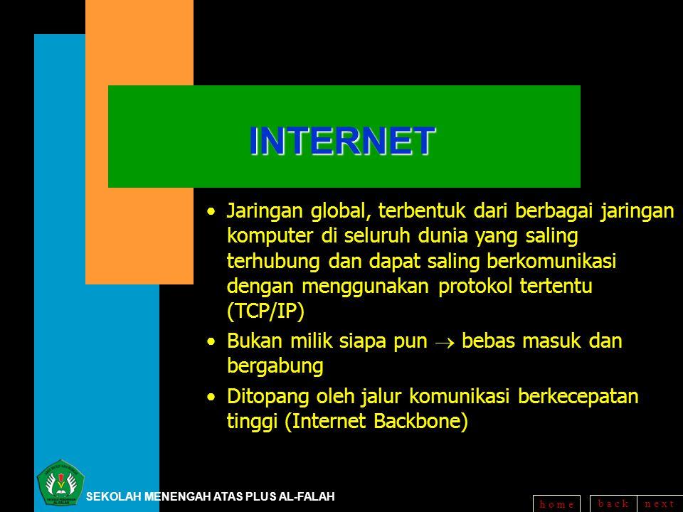 b a c kn e x t h o m eINTERNET Jaringan global, terbentuk dari berbagai jaringan komputer di seluruh dunia yang saling terhubung dan dapat saling berk