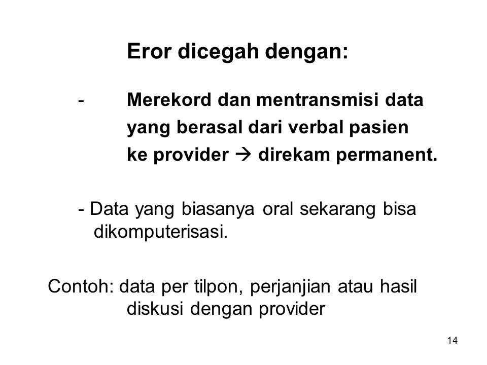 14 Eror dicegah dengan: - Merekord dan mentransmisi data yang berasal dari verbal pasien ke provider  direkam permanent.