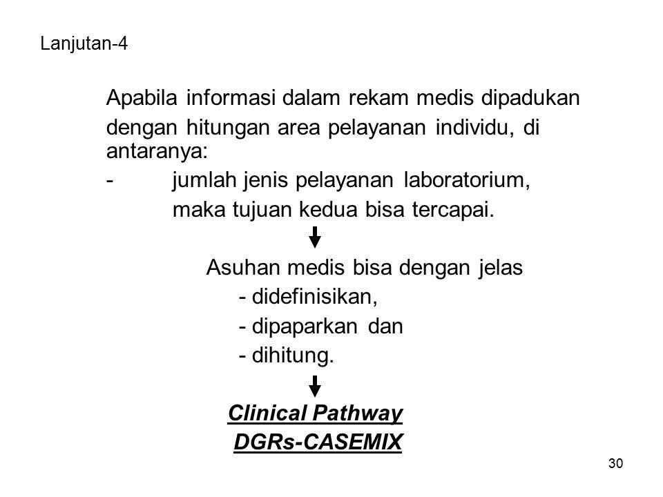 30 Lanjutan-4 Apabila informasi dalam rekam medis dipadukan dengan hitungan area pelayanan individu, di antaranya: -jumlah jenis pelayanan laboratorium, maka tujuan kedua bisa tercapai.