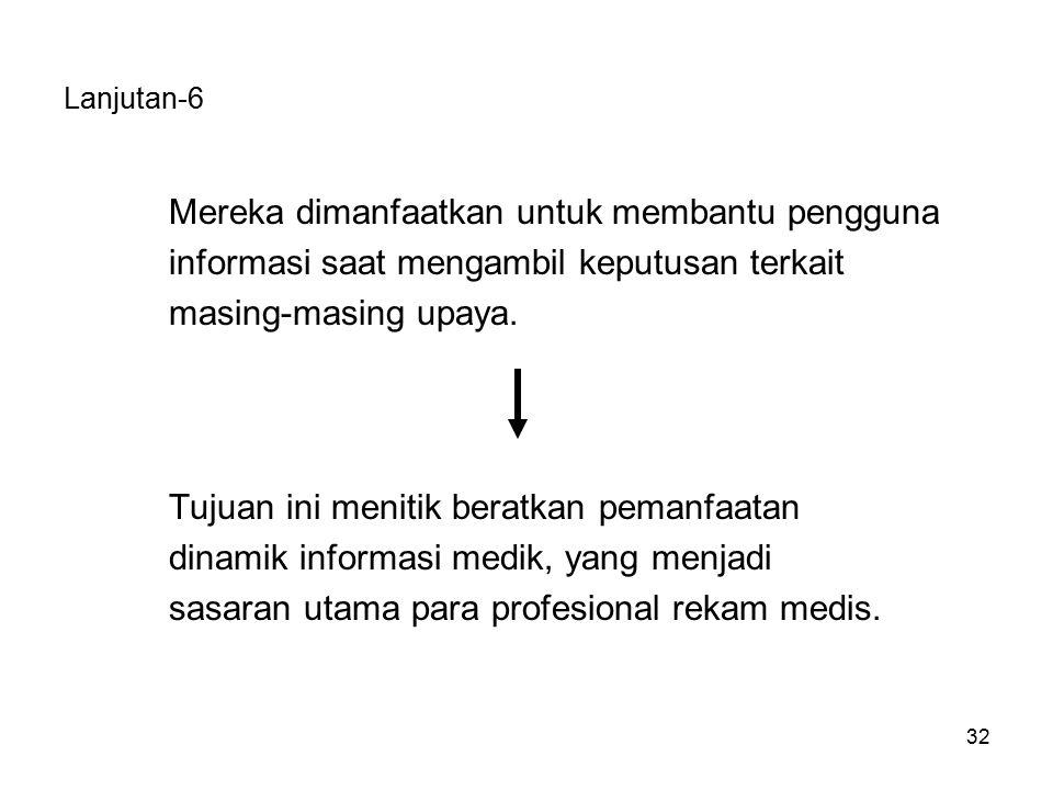 32 Lanjutan-6 Mereka dimanfaatkan untuk membantu pengguna informasi saat mengambil keputusan terkait masing-masing upaya.