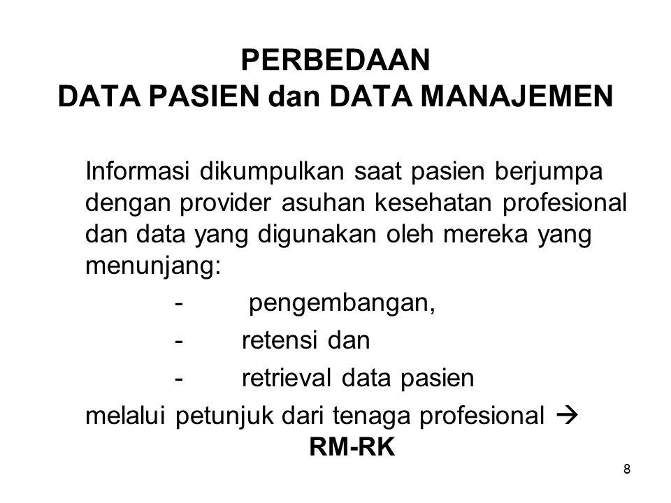 8 PERBEDAAN DATA PASIEN dan DATA MANAJEMEN Informasi dikumpulkan saat pasien berjumpa dengan provider asuhan kesehatan profesional dan data yang digunakan oleh mereka yang menunjang: - pengembangan, -retensi dan -retrieval data pasien melalui petunjuk dari tenaga profesional  RM-RK
