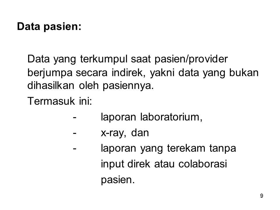 9 Data pasien: Data yang terkumpul saat pasien/provider berjumpa secara indirek, yakni data yang bukan dihasilkan oleh pasiennya.
