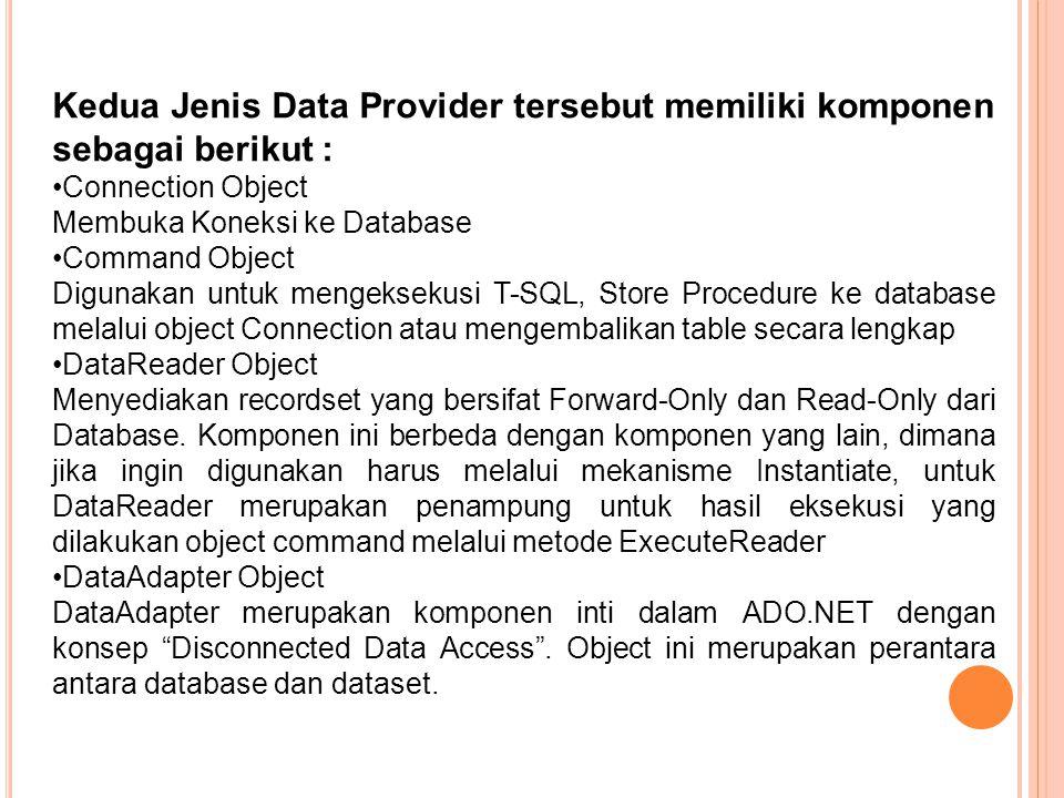 Kedua Jenis Data Provider tersebut memiliki komponen sebagai berikut : Connection Object Membuka Koneksi ke Database Command Object Digunakan untuk mengeksekusi T-SQL, Store Procedure ke database melalui object Connection atau mengembalikan table secara lengkap DataReader Object Menyediakan recordset yang bersifat Forward-Only dan Read-Only dari Database.