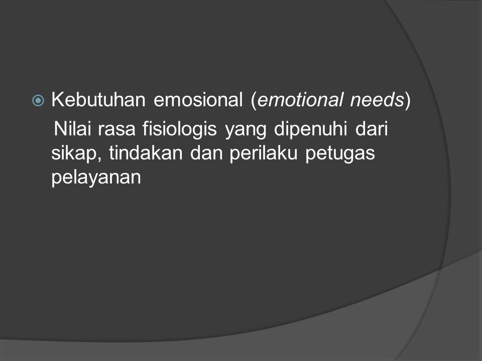  Kebutuhan emosional (emotional needs) Nilai rasa fisiologis yang dipenuhi dari sikap, tindakan dan perilaku petugas pelayanan