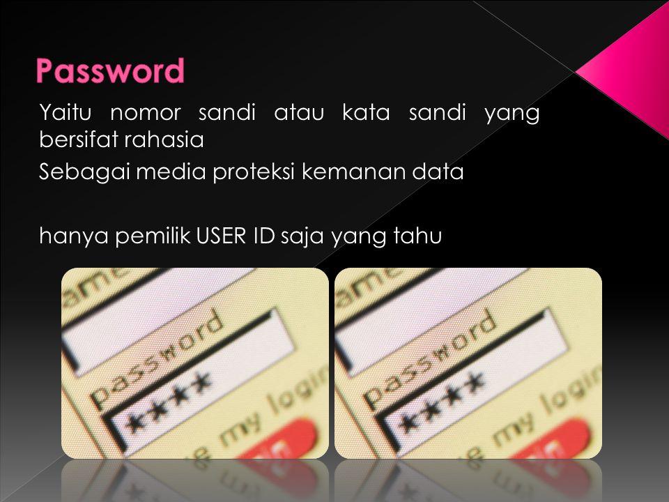 Yaitu nomor sandi atau kata sandi yang bersifat rahasia Sebagai media proteksi kemanan data hanya pemilik USER ID saja yang tahu