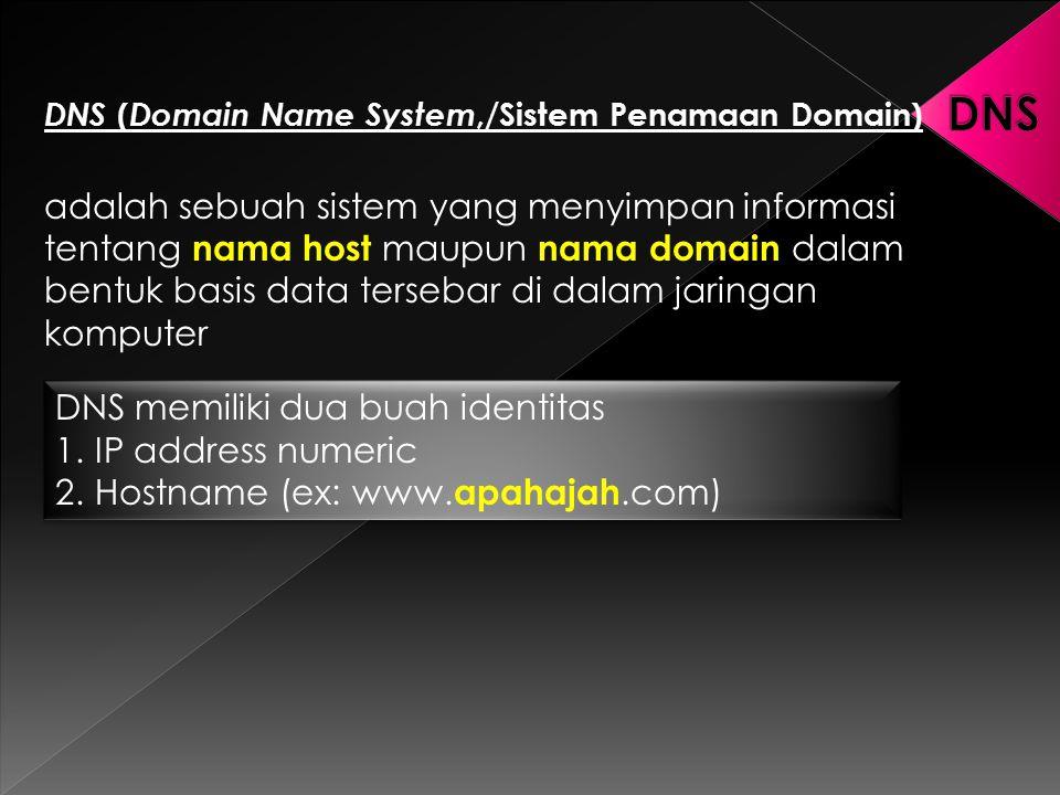DNS ( Domain Name System,/Sistem Penamaan Domain) adalah sebuah sistem yang menyimpan informasi tentang nama host maupun nama domain dalam bentuk basi