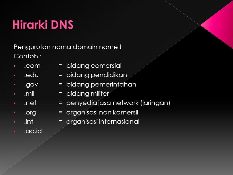 Pengurutan nama domain name ! Contoh :.com = bidang comersial.edu = bidang pendidikan.gov = bidang pemerintahan.mil = bidang militer.net = penyedia ja