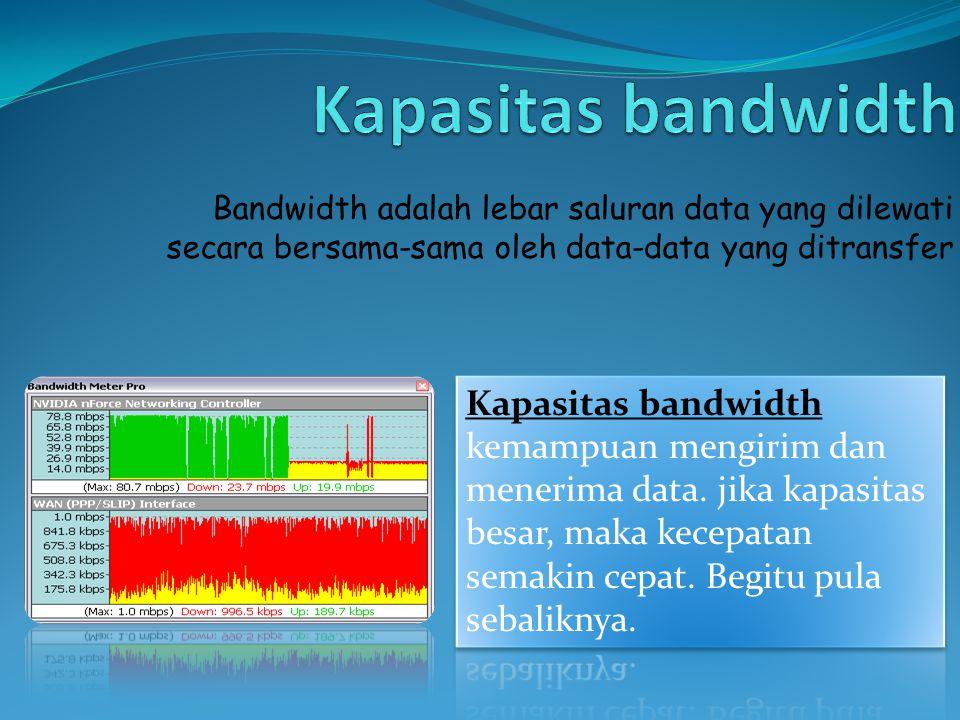 Bandwidth adalah lebar saluran data yang dilewati secara bersama-sama oleh data-data yang ditransfer