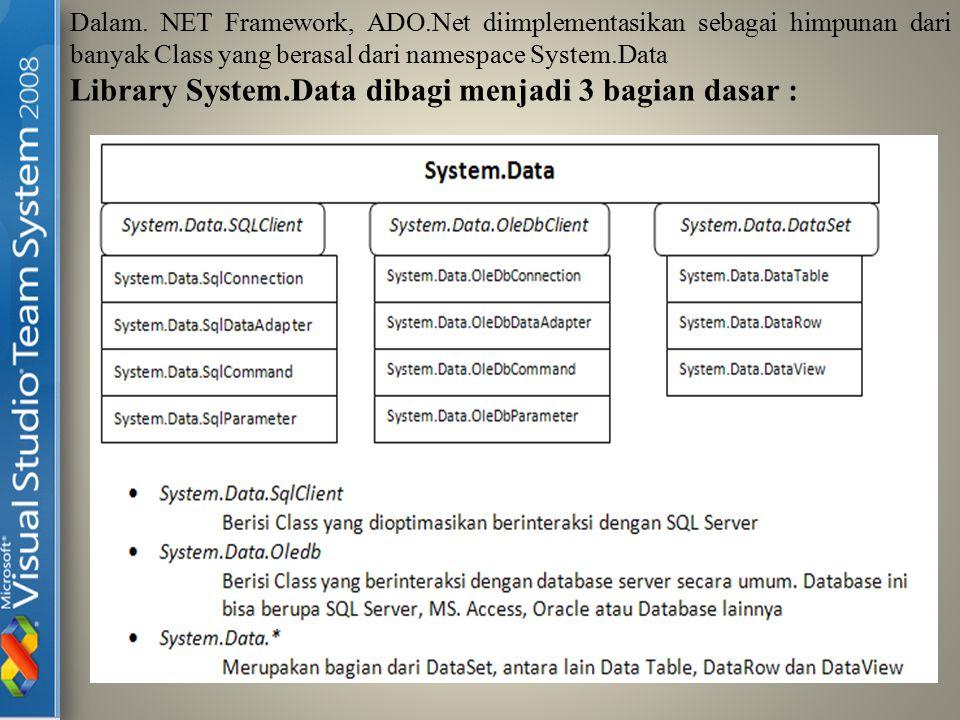 Dalam. NET Framework, ADO.Net diimplementasikan sebagai himpunan dari banyak Class yang berasal dari namespace System.Data Library System.Data dibagi