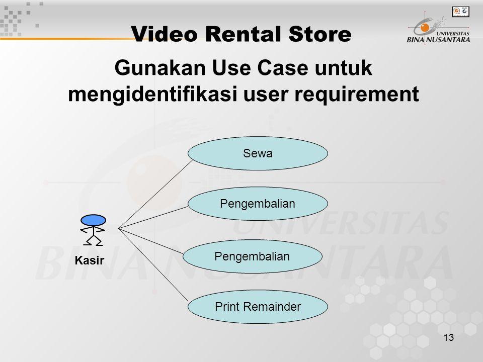 13 Gunakan Use Case untuk mengidentifikasi user requirement Video Rental Store Sewa Pengembalian Print Remainder Kasir
